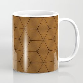 Brown wood texture geometric cubes and stars Coffee Mug
