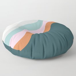 Abstract Diagonal Waves in Teal, Terracotta, and Pink Floor Pillow