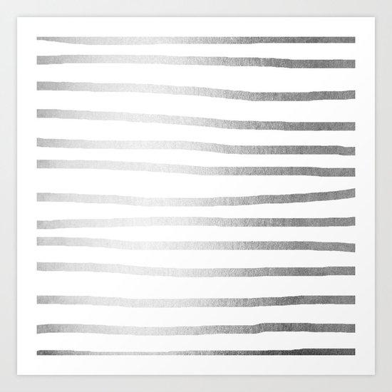 Simply Drawn Stripes Moonlight Silver Art Print