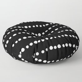 Spotted, Abstract, Black and White, Boho Print Floor Pillow