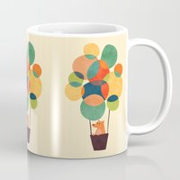 hot Mugs featuring Whimsical Hot Air Balloon by Picomodi