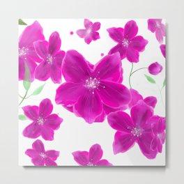 Naturshka 103 Flowers Pink White Green Metal Print