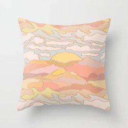 Mojave Desert Landscape in Pastel Sunset Throw Pillow