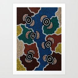 Authentic Aboriginal Art - Riverside Dreaming Art Print