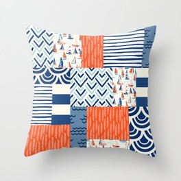 Beautiful Patch 9 (Nautical) Throw Pillow