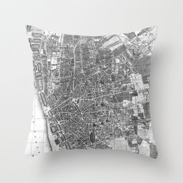 Vintage Map of Liverpool England (1890) BW Throw Pillow