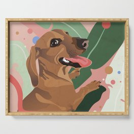 Dachshund puppy with palm leaves in bold colors Serving Tray