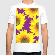 Sunflowers on a purple background - summer mood - #Society6 #buyart Mens Fitted Tee White MEDIUM