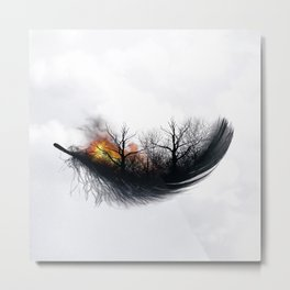 Fire Feather • Black Feather (horizontal) Metal Print