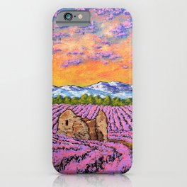 Lavender Farm by Mike Kraus - provence france french flowers landscape clouds mountains field house iPhone Case