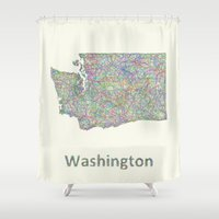 washington Shower Curtains featuring Washington map by David Zydd