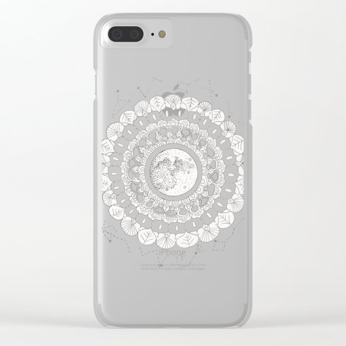 Mandala with Full Moon and Constellations Illustration Clear iPhone Case