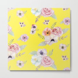 Floral I - Bright Yellow Metal Print