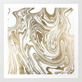 Stylish white faux gold foil elegant marble Art Print
