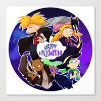 hey arnold Canvas Prints featuring Hey Arnold Halloween by Kitty Kichi