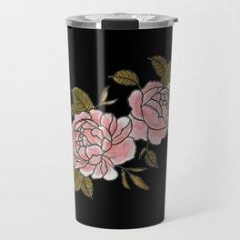 Pink Roses Watercolor Painting Pattern Travel Mug
