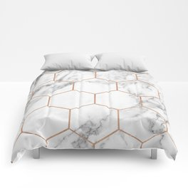 Rose gold marble hexagons honeycomb pattern Comforters