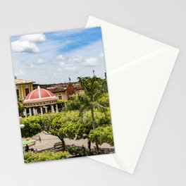 Red Gazebo and Trees Lining the Parque Colon de Granada in Nicaragua Stationery Cards