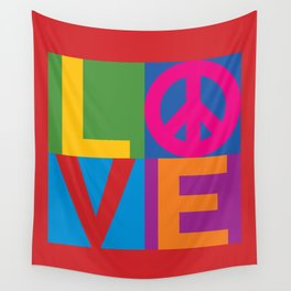 Love Peace Color Blocked Wall Tapestry