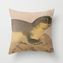 Vintage Illustration of a Harbor Seal (1874) Throw Pillow