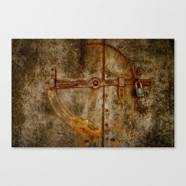 Locked Rusty Metal Doors Canvas Print