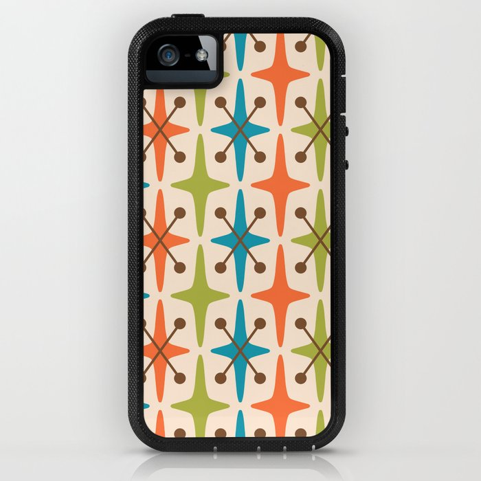 Mid Century Modern Abstract Star Pattern 441 Orange Brown Turquoise Chartreuse iPhone Case
