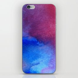 watercolor art abstract background red pink blue wet wash blurred handmade beautiful vibrant colorfu iPhone Skin
