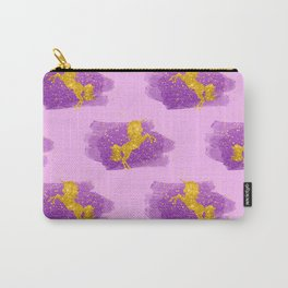 Gold Glitter Unicorns on Pink Carry-All Pouch