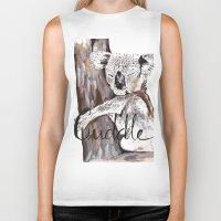 cuddle Biker Tanks featuring koala cuddle by Katy Lloyd