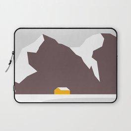 Orange Cabin Under Snowy Mountains Laptop Sleeve