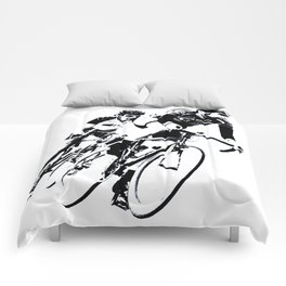Bicycle racers into the curve... Comforters