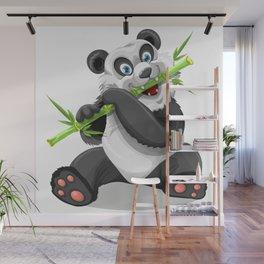 Happy panda bear eating bamboo Wall Mural