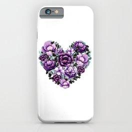 Purple Floral Heart Design iPhone Case