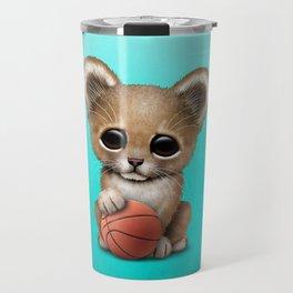 Lion Cub Playing With Basketball Travel Mug