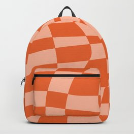 Orange twist checkered retro pattern Backpack