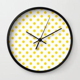 Small Polka Dots - Gold Yellow on White Wall Clock