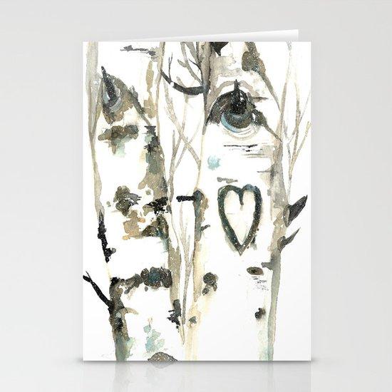 Winter Romance Birch Forest  Stationery Cards