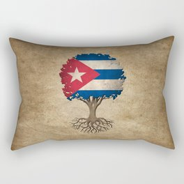 Vintage Tree of Life with Flag of Cuba Rectangular Pillow