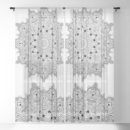 Stars and Stripes - Patriotic Mandala - Black and White - 'Merica! Sheer Curtain