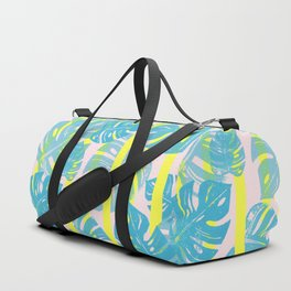 Linocut Monstera Neon Duffle Bag