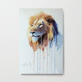 The Lion - watercolor Metal Print