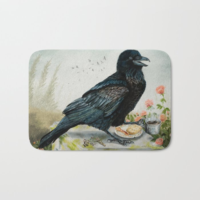 Breakfast With the Raven Bath Mat