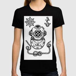 Deep Sea Diver Helmet Illustration T-shirt
