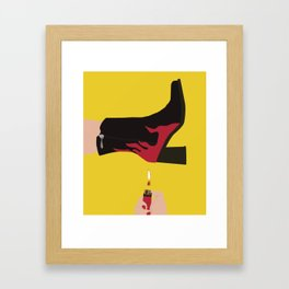 Black & Red Flame Boot on Yellow Background Framed Art Print