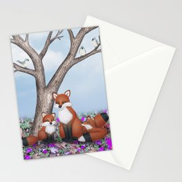 fox, cubs and tufted titmice Stationery Cards