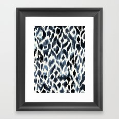 Indigo Ikat Leopard Framed Art Print