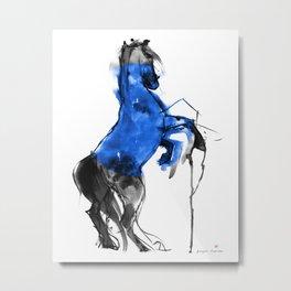 Horse (Blue Circle) Metal Print