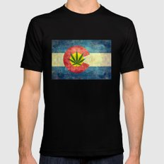 Retro Colorado State flag with the leaf - Marijuana leaf that is! Mens Fitted Tee 2X-LARGE Black