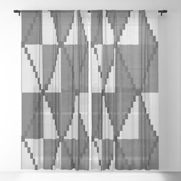 Cane in Black and White Sheer Curtain