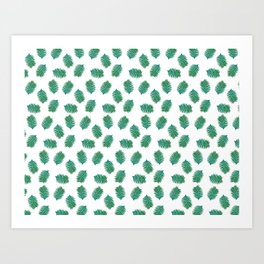 Turquoise leaves nature pattern Art Print
